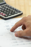 Financial report with calculator Stock Photo