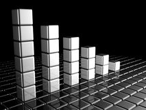 Financial report chart. Formed by silver cubes with reflection 3d illustration Stock Photography