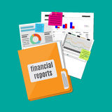 Financial report concept. Business background. Clipboard with financial reports. vector illustration in flat design Royalty Free Stock Photos
