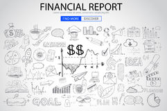 Financial Report concept with Doodle design style. Online purchases, banking, money spending. Modern style illustration for web banners, brochure and flyers Royalty Free Stock Photography