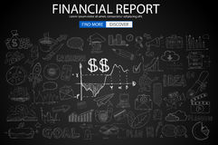 Financial Report concept with Doodle design style. Online purchases, banking, money spending. Modern style illustration for web banners, brochure and flyers Stock Photos