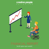Financial report concept flat 3d web isometric. Infographic . Woman points to white board graph indicator. Corporate report template. Build your own world Royalty Free Stock Photo