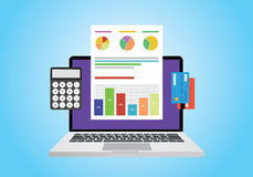Financial report concept. Use computer, graph, computer and card Royalty Free Stock Photo