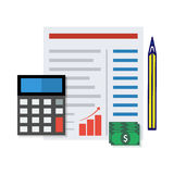 Financial report  concept. Vector illustration. Financial report  concept. Budget planning sheet with pencil and calculator. Flat design Royalty Free Stock Photos