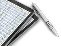 Financial report and digital tablet. Three-dimensional Shape Stock Images