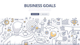 Financial Report Doodle Concept. Doodle design style concept of setting and achieving business goals, strategy building, opportunities in business. Modern line Stock Photography