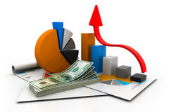 Financial report and graph. 3d illustration of  financial report and graph Royalty Free Stock Photo
