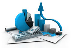 Financial report and graph. 3d illustration of financial report and graph Stock Photos