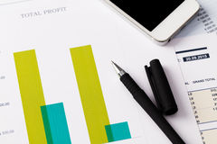 Financial report and graphics for business Royalty Free Stock Photography