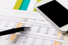 Financial report and graphics for business Royalty Free Stock Image