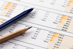 Financial report and graphics for business Royalty Free Stock Photo
