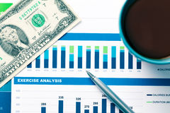 Financial report and graphics for business Royalty Free Stock Photos