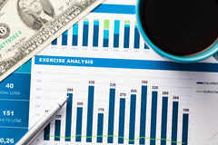 Financial report and graphics for business Stock Photography