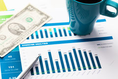 Financial report and graphics for business Stock Images
