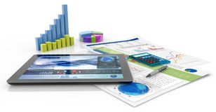 Financial report. Graphics, calculator, pen, tablet and financial documents Stock Images