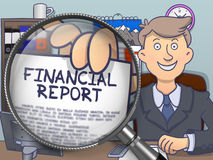 Financial Report through Magnifier. Doodle Design. Stock Photo