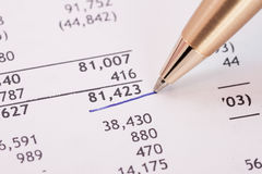 Financial report. Number in financial report underlined by blue pen Stock Image