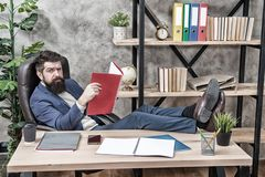 Financial report. Owner of small business. Man bearded businessman sit office read business report. Accounting and. Banking. Guy banker accountant learn stock photography