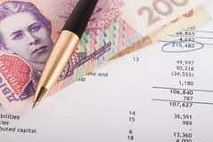 Financial report. With pan and banknotes on it Stock Image