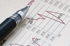 Financial report and pen Stock Photo