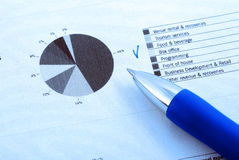 Financial report and pen royalty free stock photography