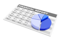 Financial report. With pie chart, 3d render Royalty Free Stock Photography