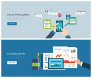 Financial report and project management concept. Flat design illustration concept for financial report and project management. Concept to building successful Royalty Free Stock Photos