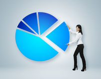 Financial report & statistics. Girl put sector of pie chart. Royalty Free Stock Photos
