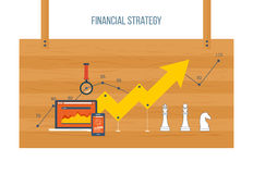 Financial report and strategy concept. Flat design modern vector illustration concept of financial report and strategy, financial analytics. The strategy of a Royalty Free Stock Photo