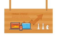 Financial report and strategy concept. Flat design modern vector illustration concept of financial report and strategy, financial analytics. The strategy of a Royalty Free Stock Photography