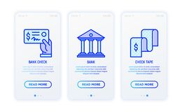 Financial report thin line icons. Bank check, bank, check tape. Vector illustration for user mobile app royalty free illustration