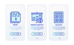 Financial report thin line icons set. Report, financial analytics, calculate. Vector illustration for user mobile app vector illustration