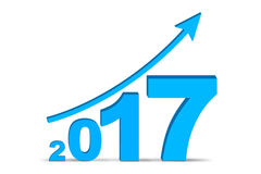 Financial report of year 2017. Image of numbers 2017 and upward arrow of isolated on white background Stock Image