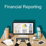 Financial reporting illustration. Flat design illustration concepts for business, finance, management. Stock Image