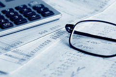 Financial reports. Close up of accounting and financial analysis Royalty Free Stock Image