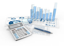 Financial Reports. Abstract infographics documents and 3D graphs and charts Royalty Free Stock Photos
