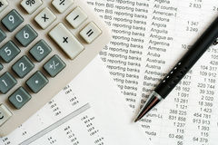Financial reports analysis Stock Photos
