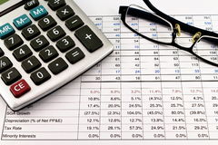 Financial reports with calculator and glasses Royalty Free Stock Photo