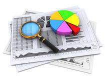Financial reports. 3d illustration of financial papers and magnifying glass Stock Image