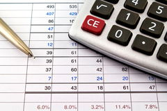 Financial reports with pen and calculator Royalty Free Stock Photo