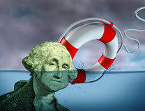 Financial Rescue. From debt problems and keeping your investments above water represented by a drowning George Washington portrait sinking in blue water with a Stock Image