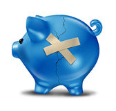 Financial Rescue. And savings recovery with a broken cracked blue piggy bank and repair tape to help save the finances as support and aid from credit problems Stock Images