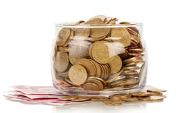 The financial reserves. Financial reserves in glass jar, isolated on white background Stock Photography