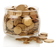Financial reserves. The financial reserves, money in jar isolated on white Royalty Free Stock Photography