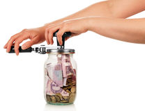 Financial reserves. money in jar Royalty Free Stock Photo
