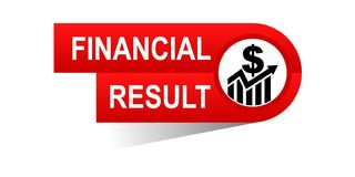 Financial result banner. Icon on isolated white background - vector illustration Stock Image