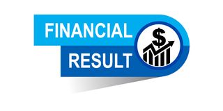 Financial result banner. Icon on isolated white background - vector illustration Stock Images