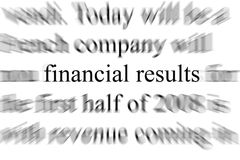 Financial results. Abstract blurry image of the words Financial results Royalty Free Stock Photography