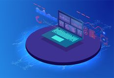 Financial review with laptop and infographic elements. Isometric set of infographics with data financial graphs or diagrams, royalty free illustration
