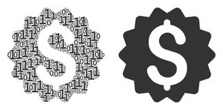 Financial Reward Seal Mosaic of Binary Digits. Financial reward seal composition icon of zero and null digits in different sizes. Vector digits are scattered Royalty Free Stock Photo